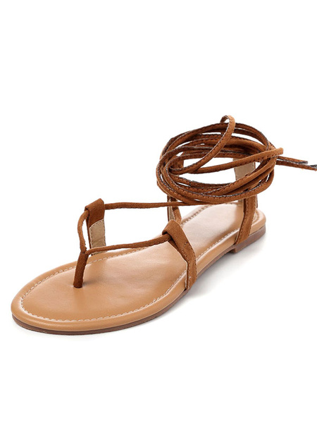 Milanoo Brown Flat Sandals Shoes 2020 Suede Strappy Womens Gladiator Sandals