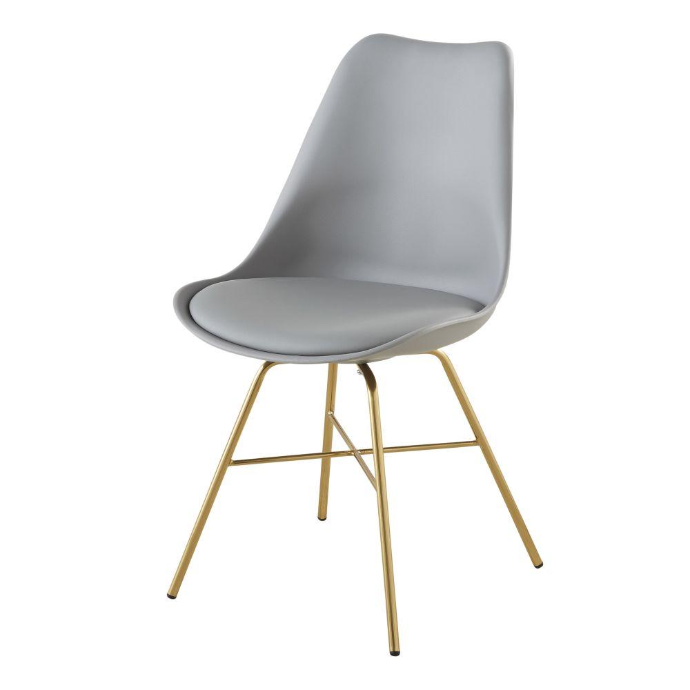 Stuhl grau mit verchromten, goldfarbenen Beinen Wembley