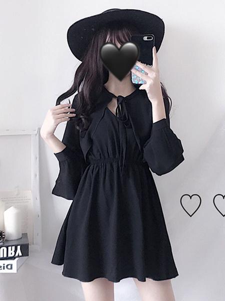 Milanoo Vestido Gothic Lolita OP Vestido de una pieza de manga larga Lolita