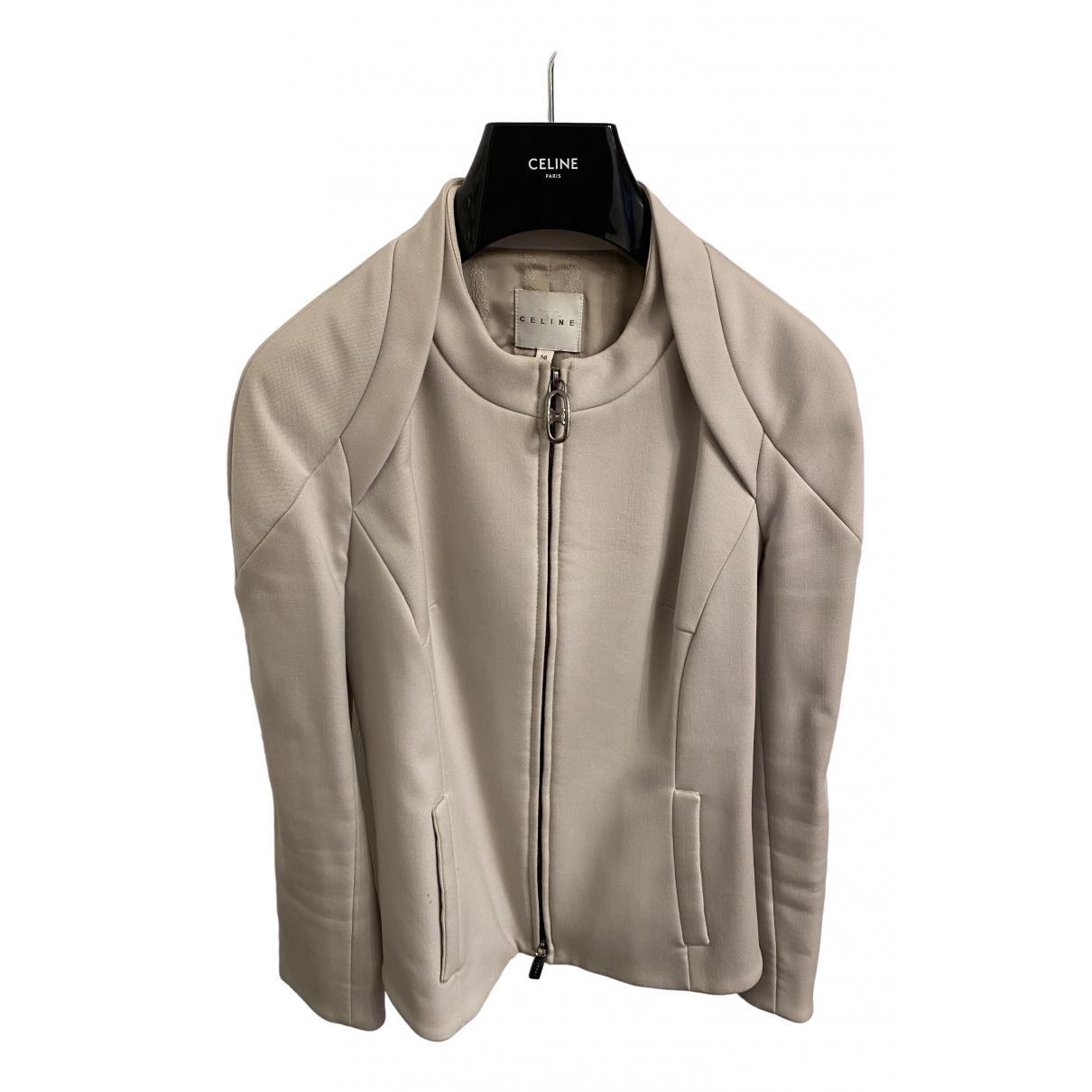 Celine \N Ecru Wool jacket for Women 36 FR