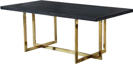 Elle 739-T Gold Dining Table with Polished Gold Metal Base  and Charcoal MDF Wood Veneer Top in