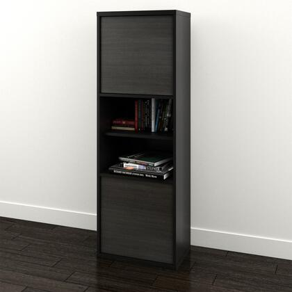 210306 Sereni-T Collection Bookcase with 2-Doors  6 Shelves  3 Adjustable Ones  Reversible Doors  Black and