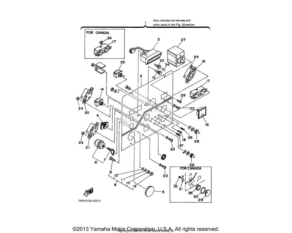 Yamaha OEM YF1-89676-12-10 PILOT LAMP ASSY (7NF5) | UR FOR CAN