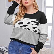 Pullover mit Farbblock und rundem Kragen