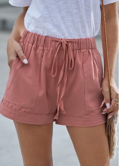 Drawstring Waist Pocket Detail Pink Shorts - L
