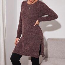 Grommet Eyelet Slit Hem Longline Sweater