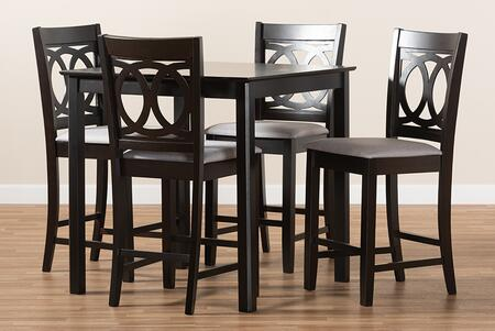 RH315P-GREY/DARKBROWN-5PCPUBSET Lenoir Modern and Contemporary Gray Fabric Upholstered Espresso Brown Finished 5-Piece Wood Pub