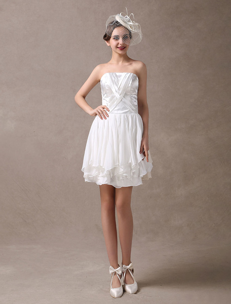 Milanoo Short Wedding Dresses Vintage Strapless 1950s Chiffon Satin Pleated Reception Bridal Dress