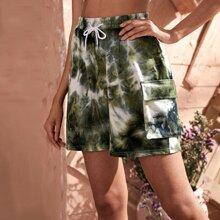 Shorts mit Batik, Taschen Klappe und Kordelzug