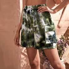 Tie Dye Flap Pocket Drawstring Shorts