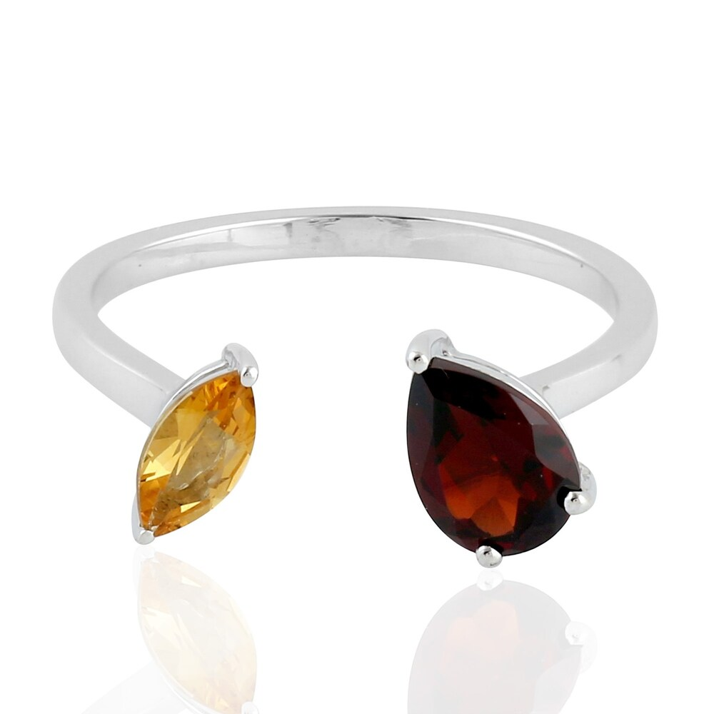Garnet Citrine Between The Finger Ring Silver Jewelry (Multi - 7 - Citrine)