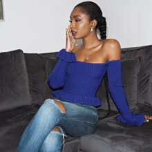 Off Shoulder Ruffle Hem Sweater