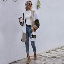 Color-block Drop Shoulder Oversized Cardigan