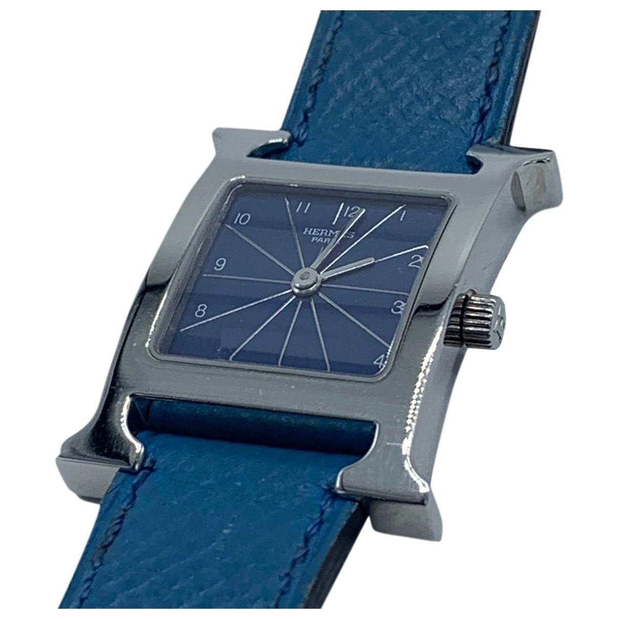 Hermes - Montre Heure H pour femme en acier - bleu