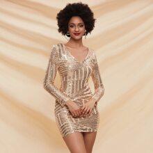 Geo Sequin Bodycon Dress