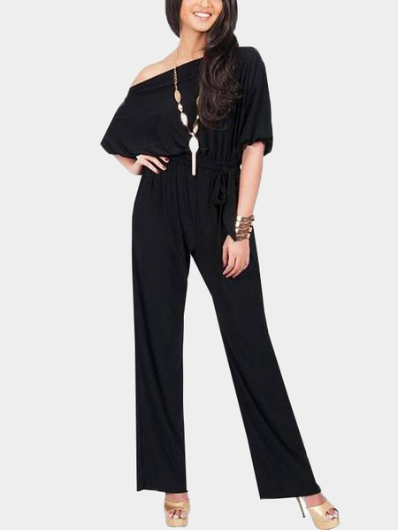 Yoins Black One Shoulder Self-tied Maxi Jumpsuits