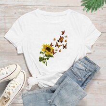Sunflower And Butterfly Print Tee