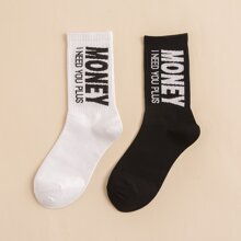 2 pares calcetines de hombres con estampado de letra