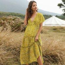 Ditsy Floral Frill Trim Smock Dress