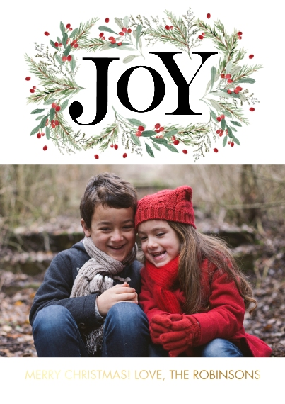 Christmas Photo Cards Set of 20, Premium 5x7 Foil Card, Card & Stationery -Christmas Foil Joy Foliage by Tumbalina
