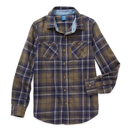 Arizona Little & Big Boys Long Sleeve Flannel Shirt, Xx-small (4-5) , Green