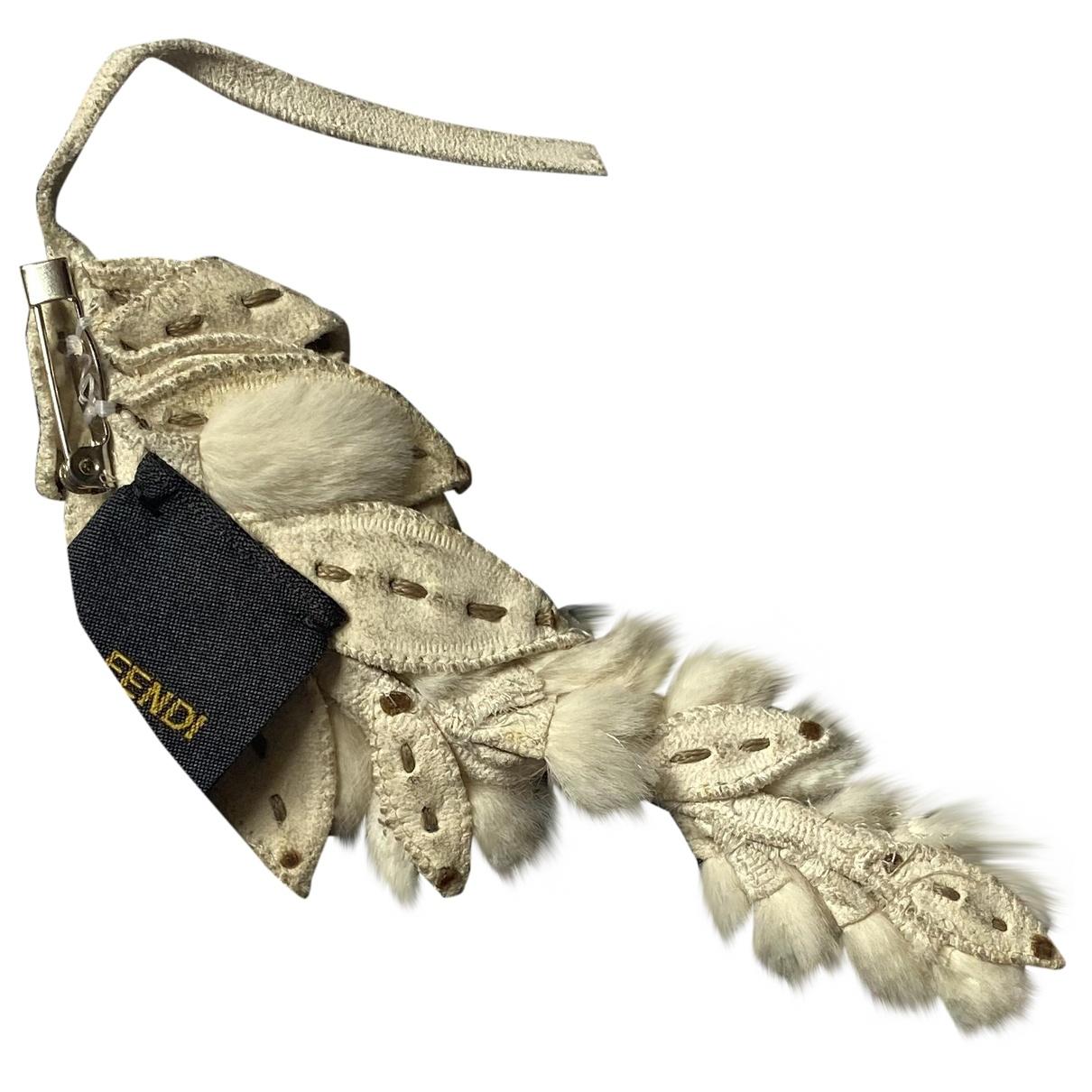 Fendi - Broche   pour femme en cuir - blanc