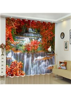 Red Leaves and Flowing River Printed Wonderful Autumn Style 2 Panels Custom 3D Curtain