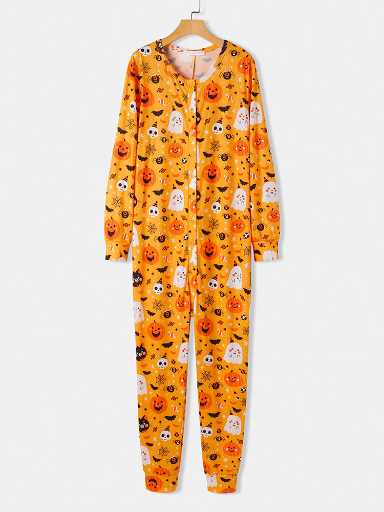 Plus Size Women Halloween All Over Funny Pumpkin Print Button Up Onesies Pajamas