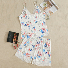 Plus Contrast Lace Floral Print Cami PJ Set