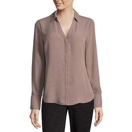 Worthington Long Sleeve Soft Blouse - Tall, Small Tall , Brown