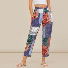 Slant Pocket Patchwork Print Pants