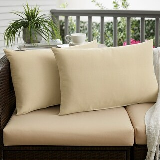 Charisma Outdoor Beige Pillow Made with Sunbrella (Set of 2) (14 in H x 24 in W)