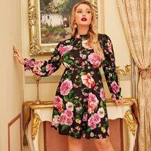 Kleid mit Stehkragen und Blumen Muster
