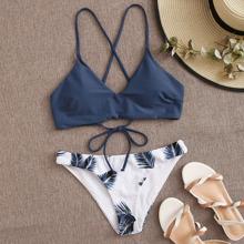 Tropical Print Crisscross Lace-Up Bikini Swimsuit