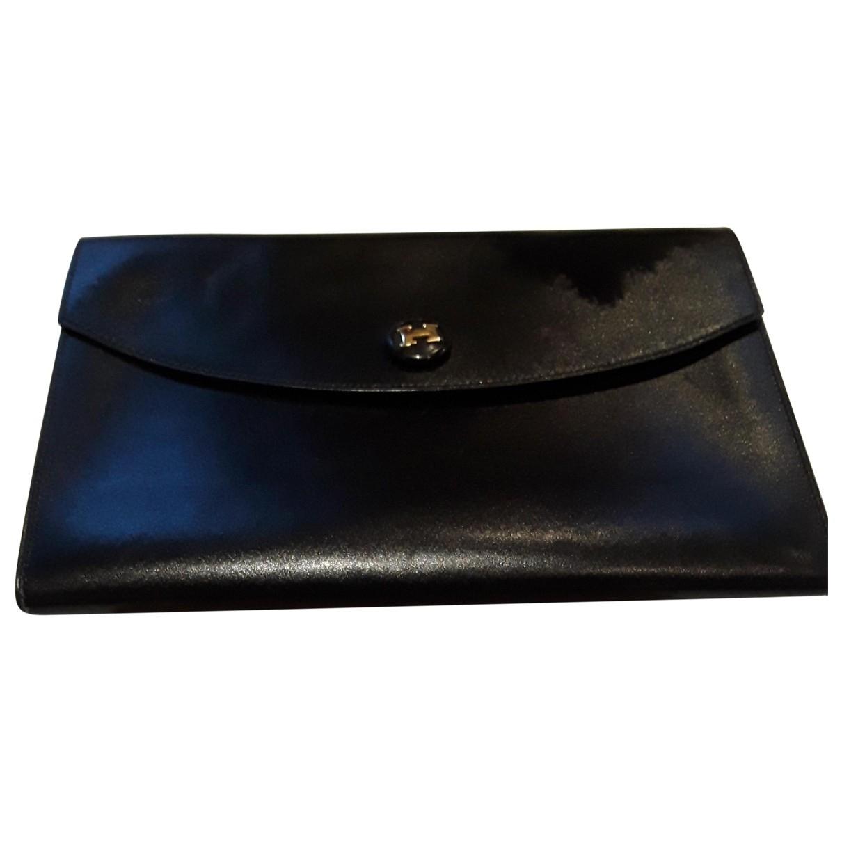 Hermes - Pochette   pour femme en cuir - noir