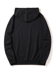 Guys Letter Floral Graphic Hoodie