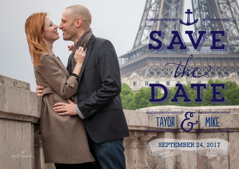 Save the Date 5x7 Cards, Standard Cardstock 85lb, Card & Stationery -Save the Date Lettering Over Photo
