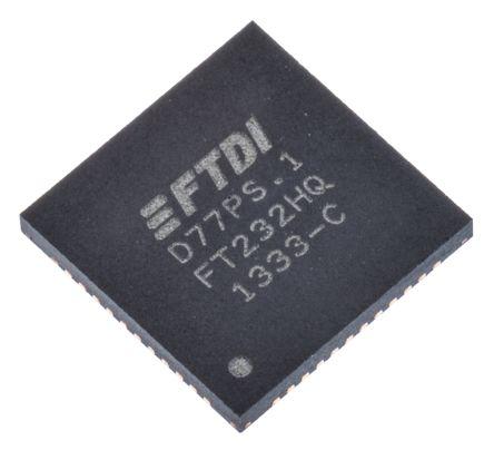 FTDI Chip , QFN USB to Serial UART RS232, RS422, RS485 UART 12Mbit/s, 1.8 V, 3.3 V, 48-Pin FT232HQ-REEL