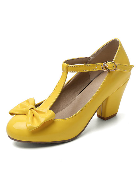 Milanoo Mid-Low Heels For Woman T-type Bandage Lovely Round Toe Chunky Heel Shoes With Bows
