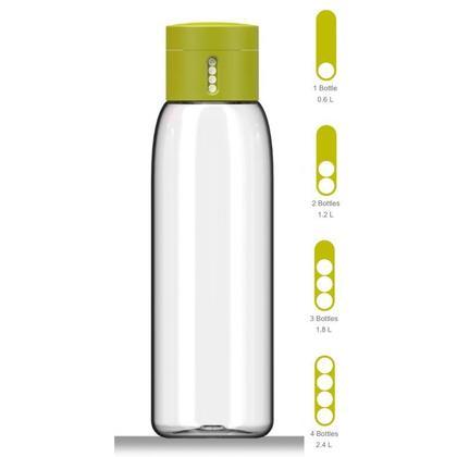 Bouteille d'eau avec suivi de l'hydratation DOT, 600ml, verte - Joseph Joseph