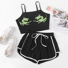 Dragon Graphic Cropped Cami With Track Shorts