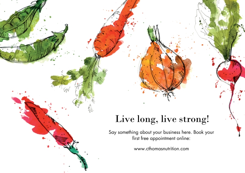 Health & Wellness Flat Business Greeting Cards, Business Printing -Nutritionist Veggies