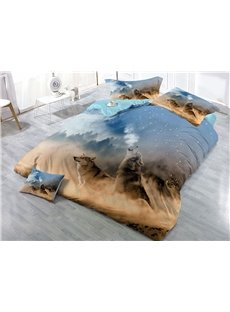 Roaring Wolves Wear-resistant Breathable High Quality 60s Cotton 4-Piece 3D Bedding Sets