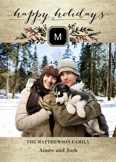 Holiday Photo Cards 5x7 Cards, Premium Cardstock 120lb with Elegant Corners, Card & Stationery -Holiday Sprigs and Berries