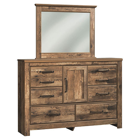 Signature Design by Ashley Bartlett Dresser and Mirror, One Size , Brown