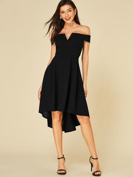 YOINS Black Off The Shoulder Ruffle Trim Dress