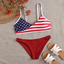 Bikini Badeanzug mit amerikanischer Flagge Muster und V Kragen