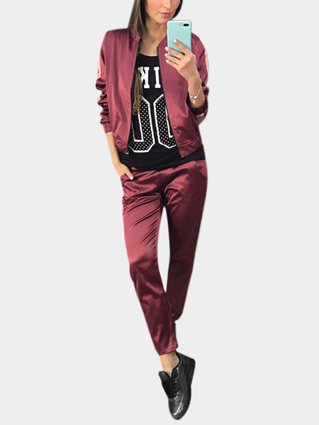 Yoins Active Causal Style Elastic Waist Sports Tracksuit in Burgundy
