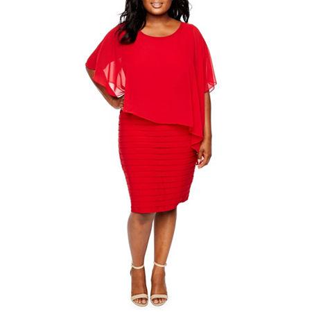 Scarlett Scarf Overlay Cape Dress - Plus, 22w , Red