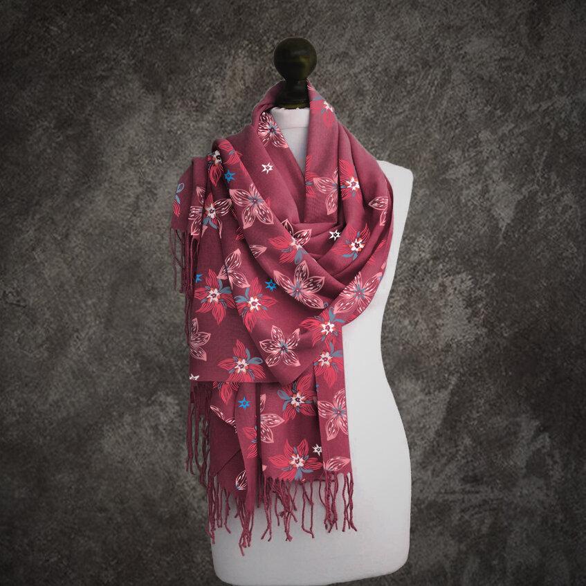 Women Solid Color Printing Pattern Linen Long Scarf Shawl Wrap Multi-purpose Elegant Neck Wrap Warm Scarf